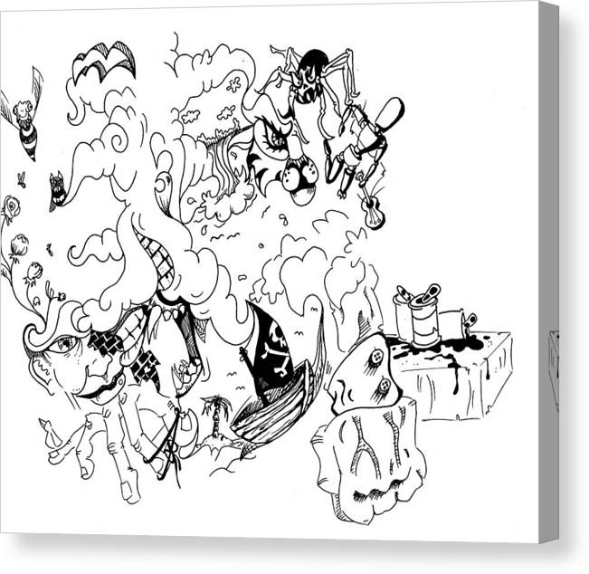 Surrealism Canvas Print featuring the drawing Dangerous Business Since 1985 by Kevin Ball