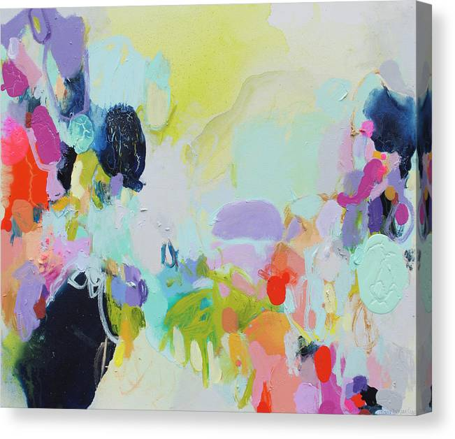 Abstract Canvas Print featuring the painting Chartreuse Stop by Claire Desjardins