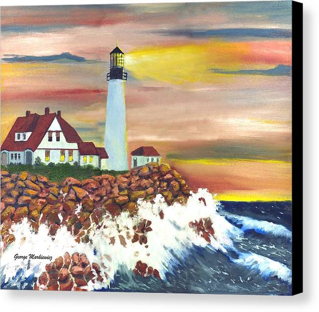 Lighthouse In The Begging Of A Storm Canvas Print featuring the print Guiding Light by George Markiewicz