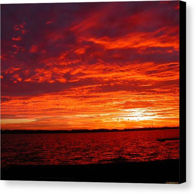 Canadian Canvas Print featuring the painting Canadian Sunset by Lady Red