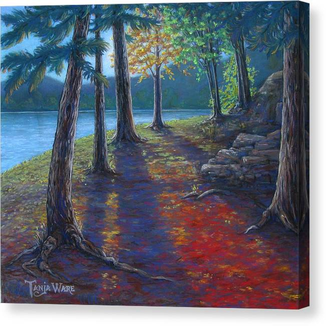 Landscape Canvas Print featuring the painting Fiery Fall Afternoon by Tanja Ware