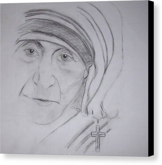 mother Theresa Canvas Print featuring the drawing Mother Theresa by Valerie Wolf