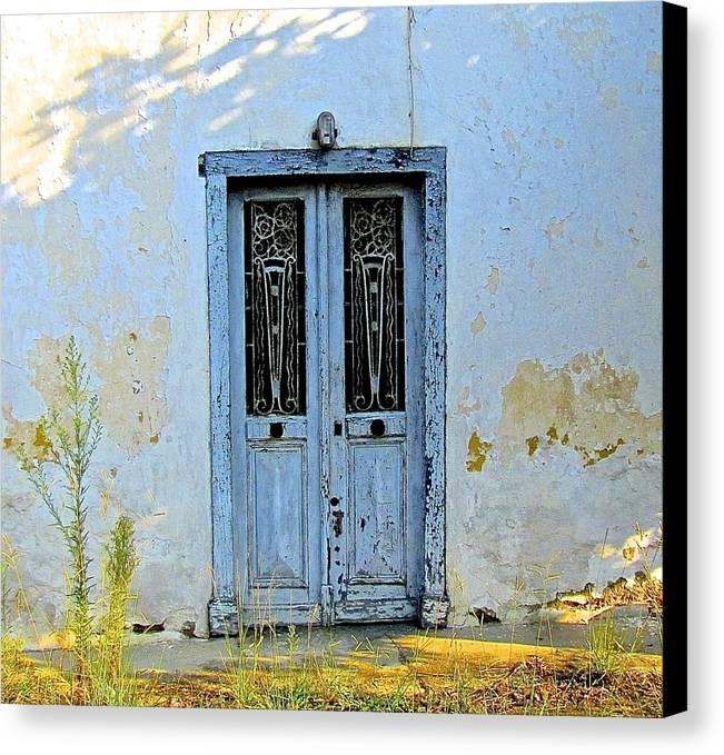 Door Canvas Print featuring the photograph Blue Door In Shade by Matt Rice