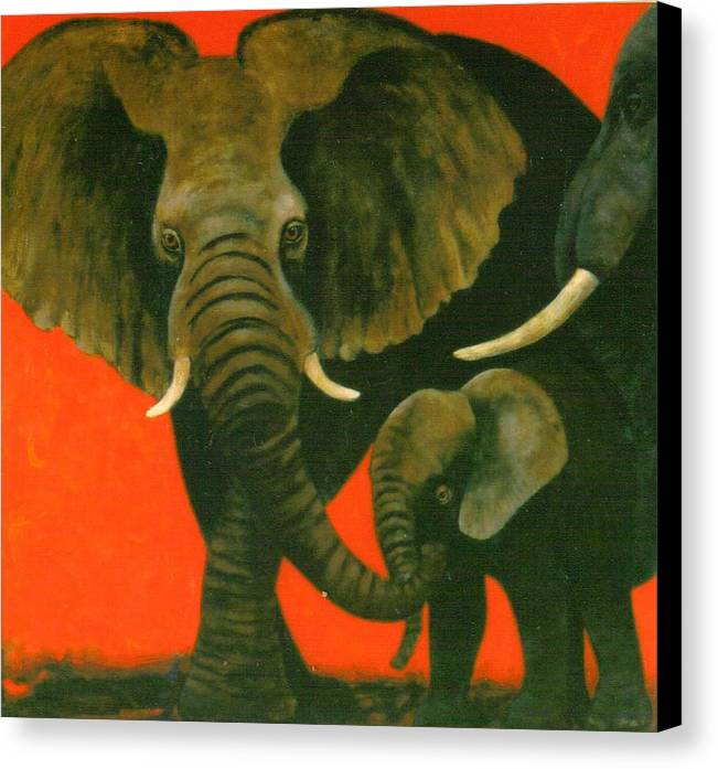 Elephants Canvas Print featuring the painting Trio by Christine McGinnis