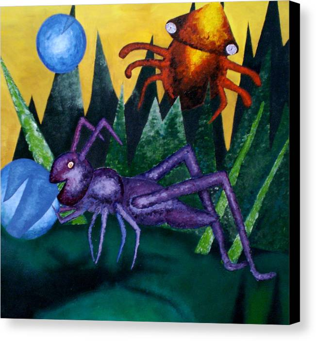 Bugs Canvas Print featuring the painting Trippy Virgin by Kime Einhorn