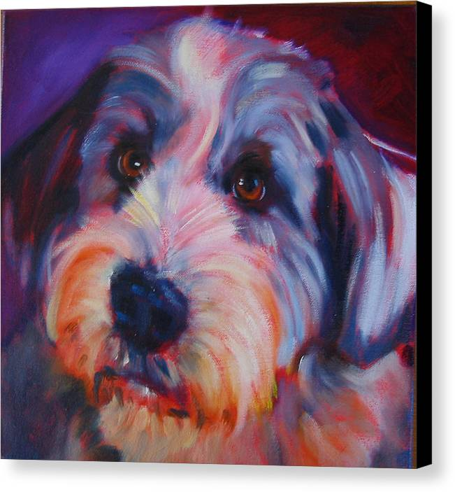 Old English Sheep Dog Canvas Print featuring the painting Willie by Kaytee Esser