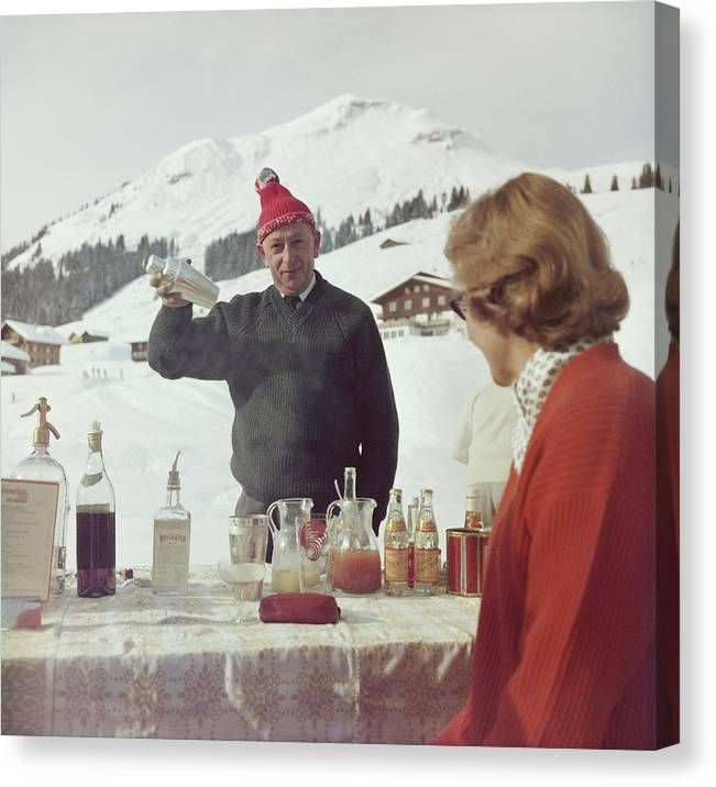Mixing Canvas Print featuring the photograph Lech Ice Bar by Slim Aarons