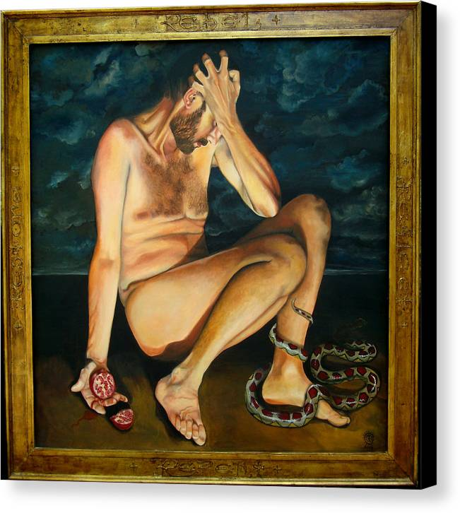 Fall Of Adam Canvas Print featuring the painting Adam Revealed by Teresa Carter