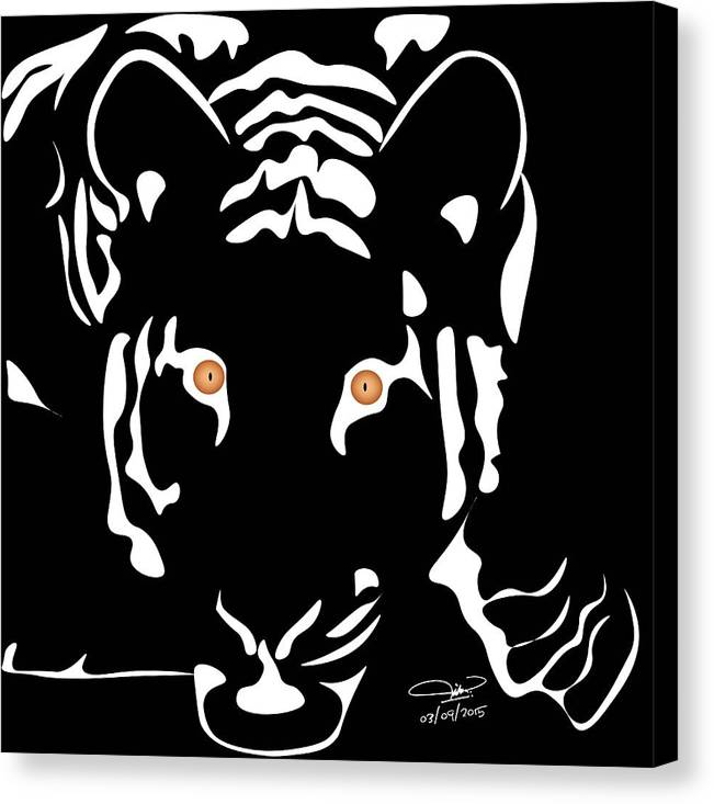 Tiger Canvas Print featuring the digital art Eyes Of A Tiger 4 by Hope Linton