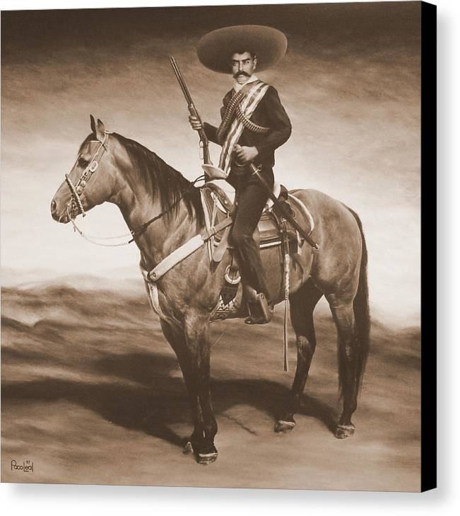 Emiliano Canvas Print featuring the painting Zapata by Paco Leal