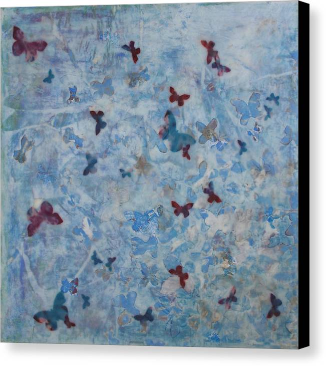 Butterflies Canvas Print featuring the mixed media Andiamo 1 by Elizabeth Comay