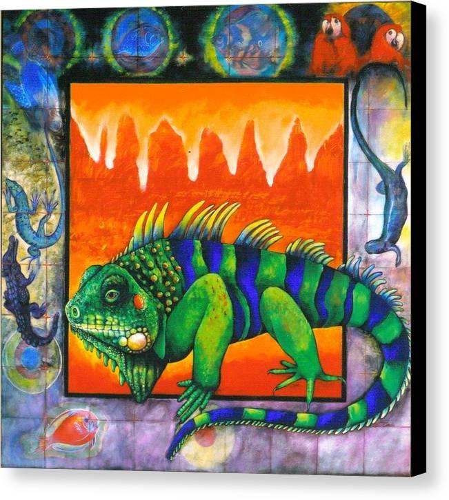 Iguana Canvas Print featuring the painting Iguana by Christine McGinnis