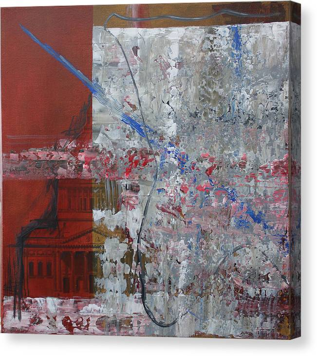 Expressionism Canvas Print featuring the painting Art Encroaching On Architecture by Detlef Gotzens
