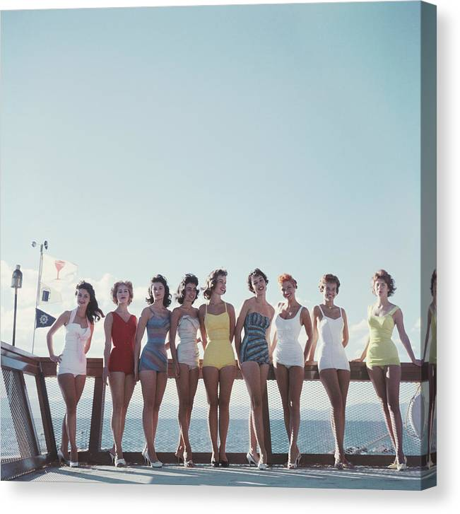 People Canvas Print featuring the photograph Lake Tahoe Ladies by Slim Aarons