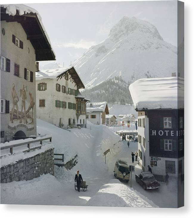 People Canvas Print featuring the photograph Hotel Krone, Lech by Slim Aarons