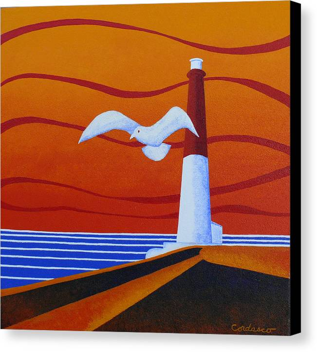 Lighthouse Canvas Print featuring the painting Our Ol' Barney by James Cordasco