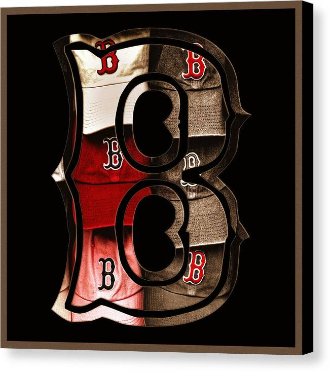 Boston Canvas Print featuring the photograph B For Bosox - Vintage Boston Poster by Joann Vitali