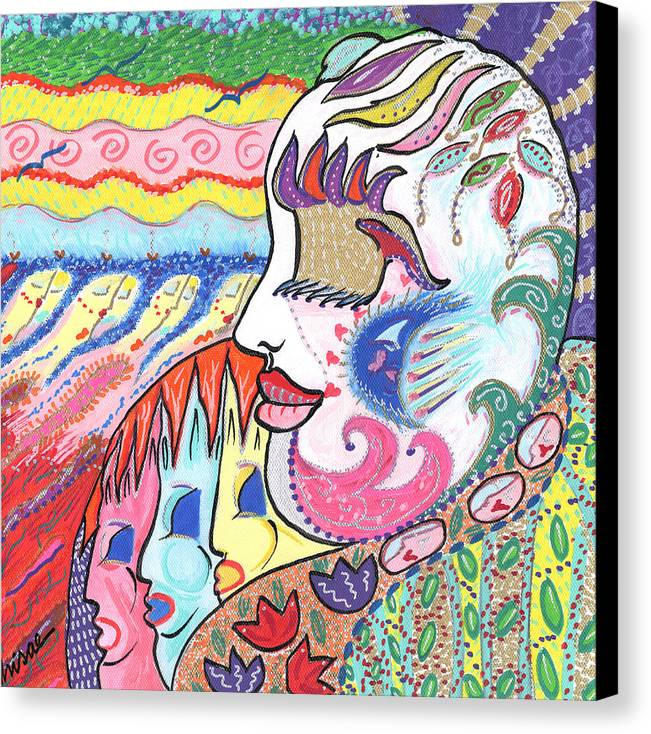 Harlequin Canvas Print featuring the painting Gentle Smile by Sharon Nishihara
