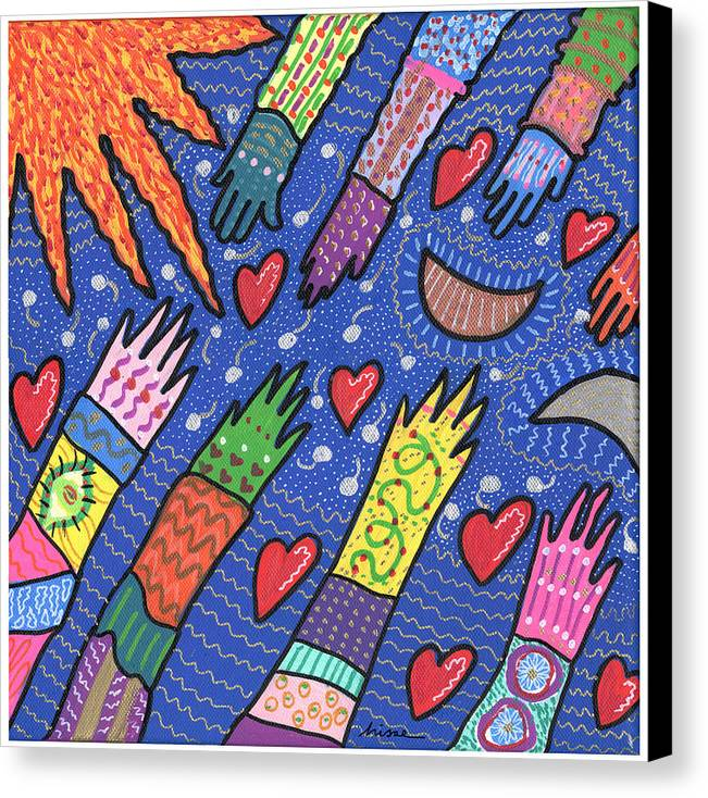 Bright Canvas Print featuring the painting Community by Sharon Nishihara