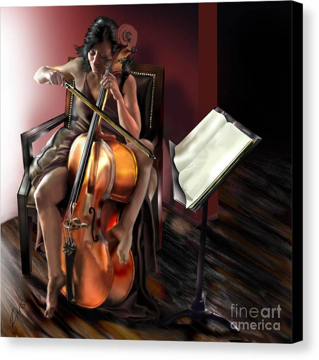 Cello Canvas Print featuring the painting Mi Chica - Solace In The Unseen by Reggie Duffie