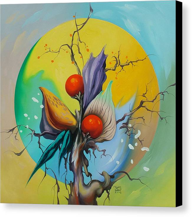 Canvas Print featuring the painting Moonflower Full Moon 5. by Zoltan Ducsai