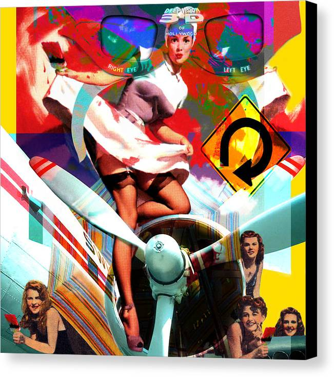 Girls Canvas Print featuring the painting Paint Brush Girls by Robert Anderson