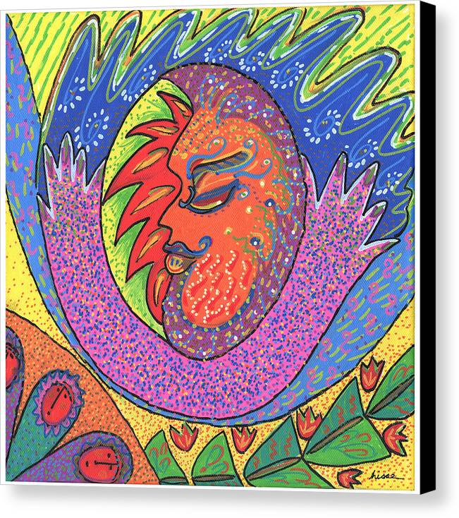 Whimsical Canvas Print featuring the painting Sun Man by Sharon Nishihara