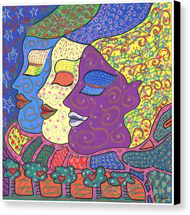 Bright Canvas Print featuring the painting Three Maidens by Sharon Nishihara