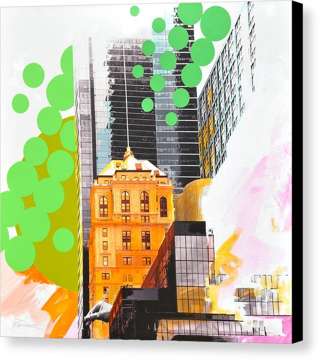 Ny Canvas Print featuring the painting Times Square Ny Advertise by Jean Pierre Rousselet