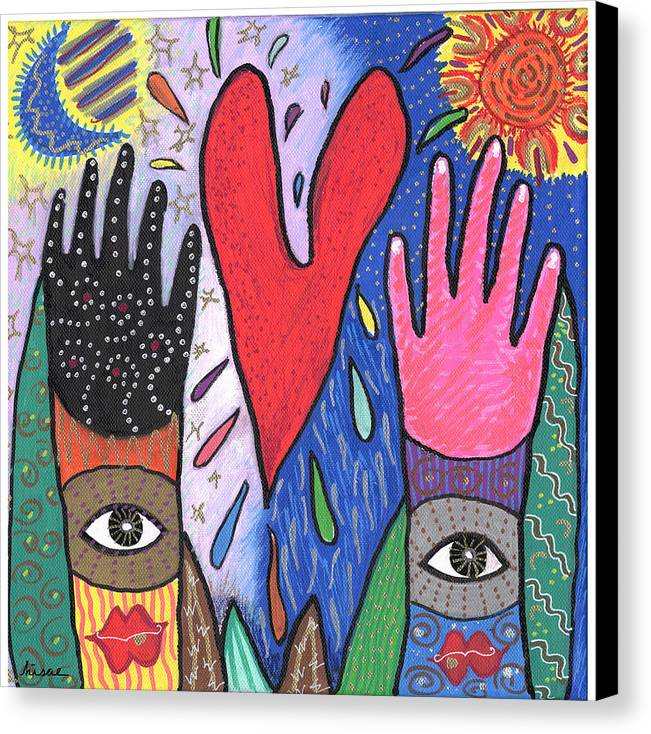 Multicultural Canvas Print featuring the painting Two Hands by Sharon Nishihara