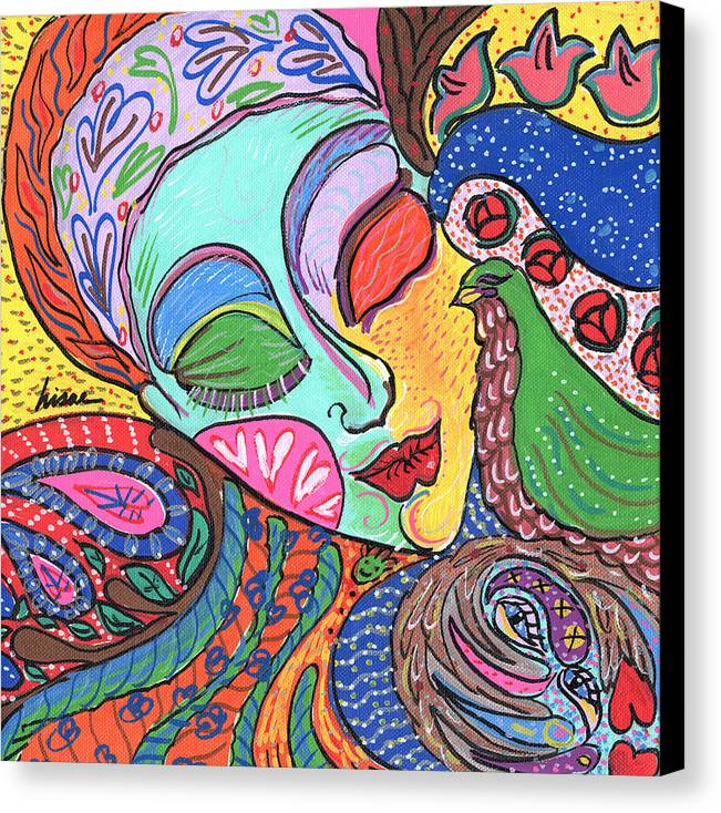 Whimsical Canvas Print featuring the painting Woman With Scarf by Sharon Nishihara
