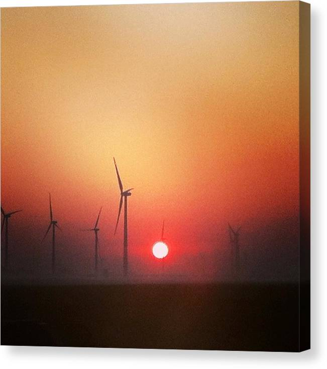 Windmill Illinois Sunrise Sunset Landscape Outdoor Sunrise Green Energy Canvas Print featuring the photograph Energy by Jake Harral