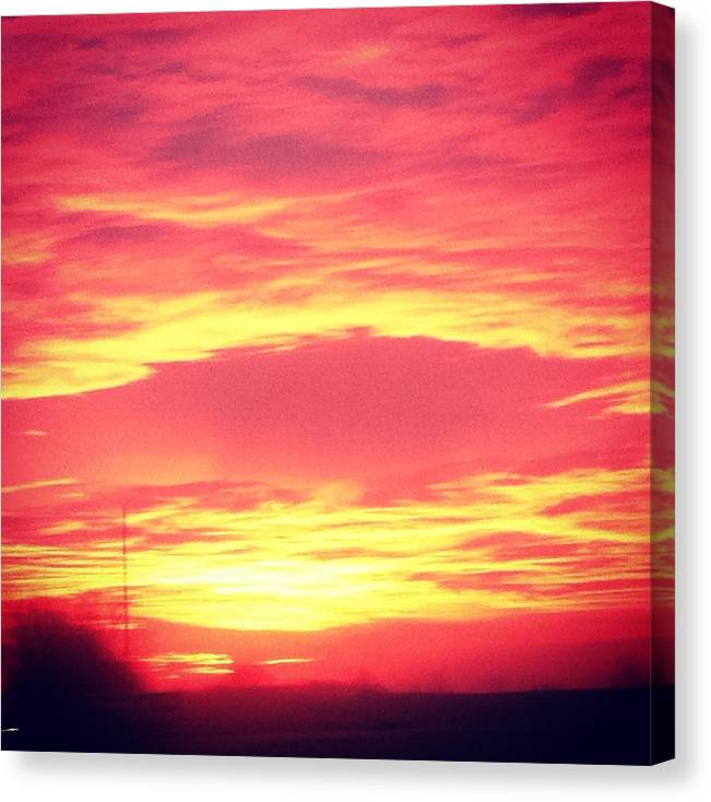 Landscape Outdoor Sunset Sunrise Red Orange Scenery Canvas Print featuring the photograph Sun Face by Jake Harral