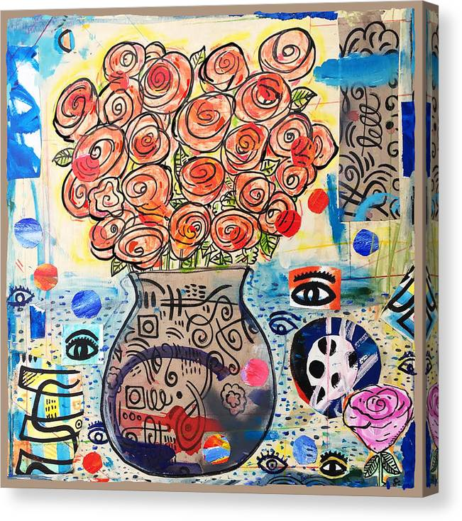 Collage Canvas Print featuring the painting Dawn by James Sasso