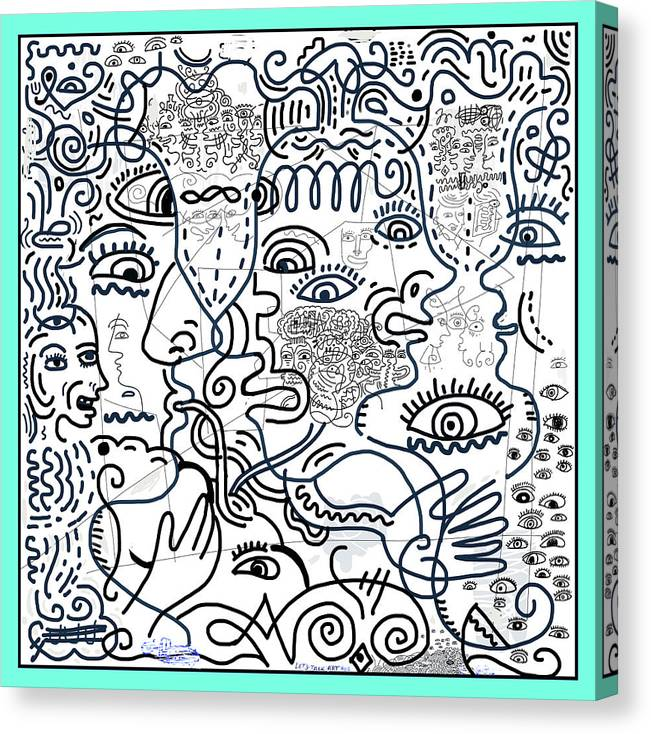 Mixed Media Canvas Print featuring the drawing Let's Talk Art #02 by James Sasso