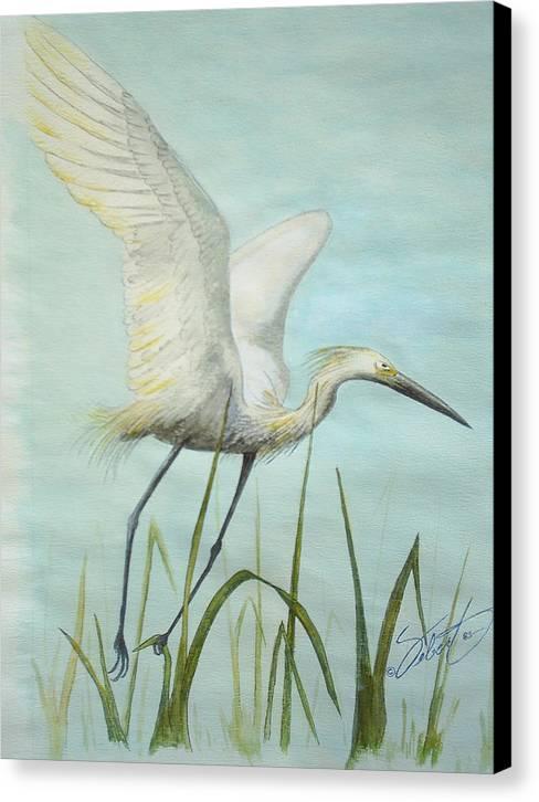Bird Canvas Print featuring the painting Egret In Flight by Dennis Vebert