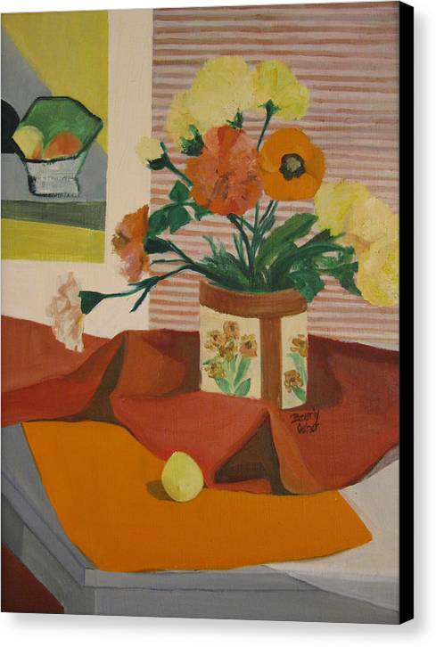 Impressionistic Red Yellow Orange Canvas Prints Still Life Fruit Flowers Red Yellow Canvas Print featuring the painting Orange And Yellow Still Life by Beverly Trivane