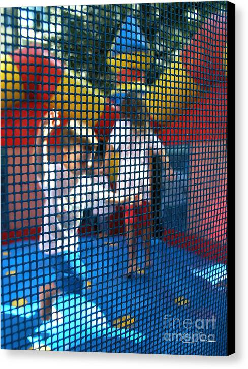 Child Canvas Print featuring the photograph Playing Safe by Carlos Alvim