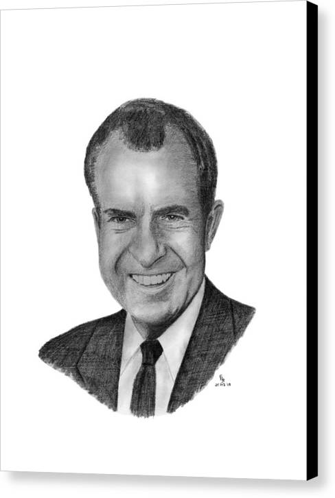 President Canvas Print featuring the drawing President Richard Nixon by Charles Vogan