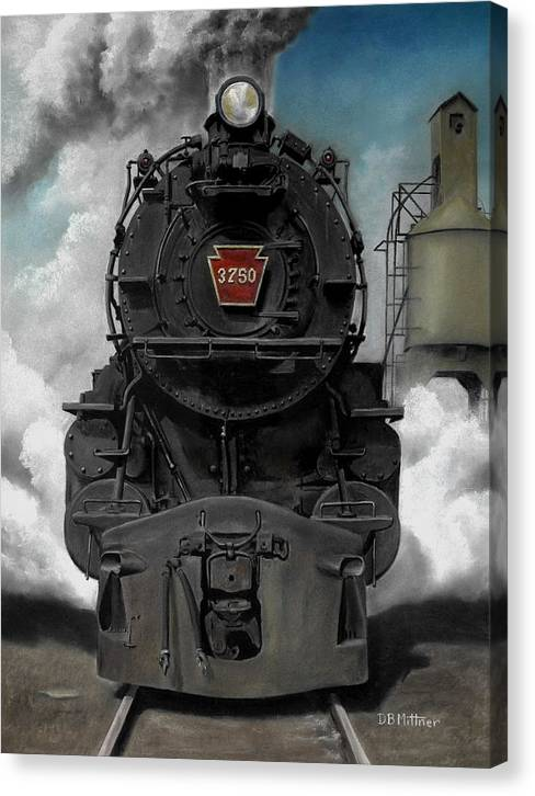 Trains Canvas Print featuring the painting Smoke And Steam by David Mittner