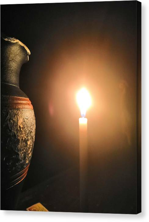 Candle Light Canvas Print featuring the photograph Light In The Dark by Ian Batanda