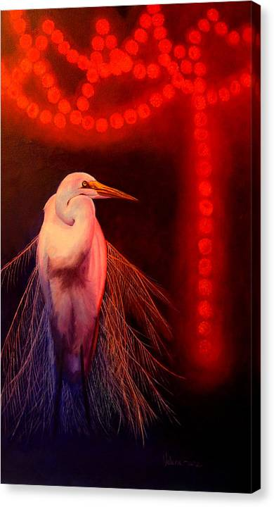 Bird Canvas Print featuring the painting Rasberry Glow by Valerie Aune