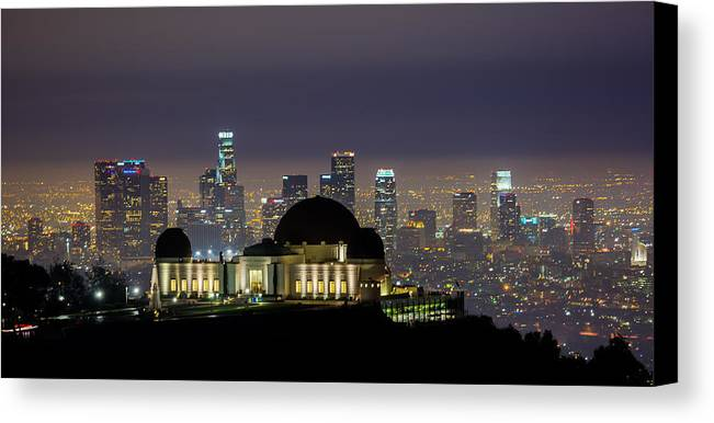 Los Angeles Skyline Canvas Print featuring the photograph Los Angeles Skyline by Jerome Obille