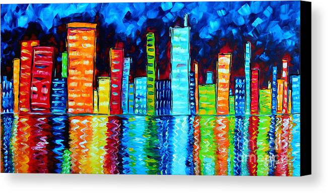 Abstract Canvas Print featuring the painting Abstract Art Landscape City Cityscape Textured Painting City Nights II By Madart by Megan Duncanson