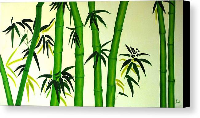 Oil Canvas Print featuring the painting Bamboos by Sonali Kukreja