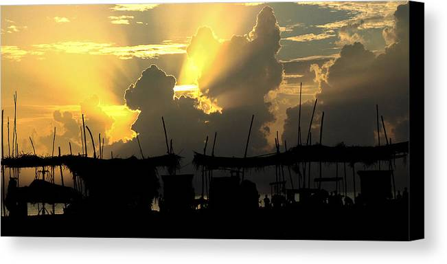 Sunset Canvas Print featuring the photograph Beach India by Rosario Fernandes