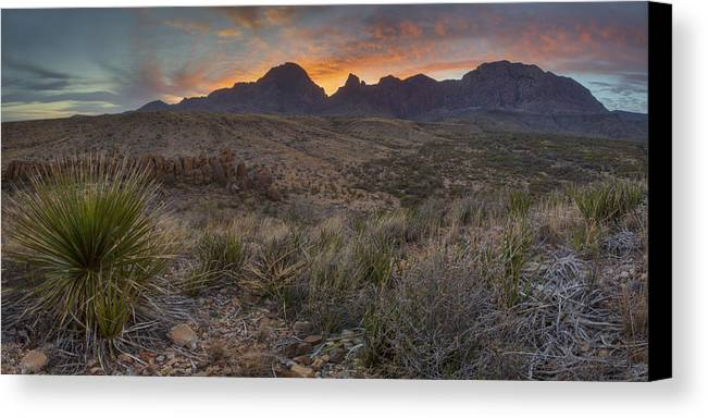 Big Bend National Park Images Canvas Print featuring the photograph The Window View Of Big Bend National Park At Sunrise by Rob Greebon
