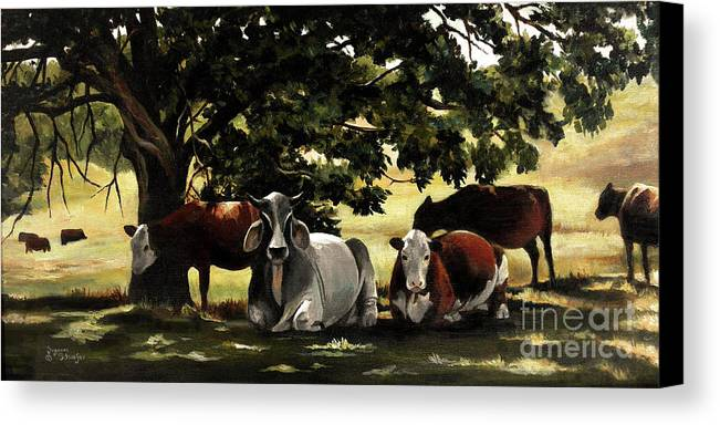 Cows In Pasture Canvas Print featuring the painting Brahma's Mamas by Suzanne Schaefer