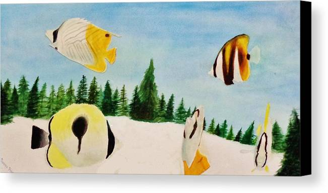 Butterfly Canvas Print featuring the painting Butterfly Fish by Savanna Paine