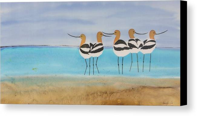 Avocets Canvas Print featuring the tapestry - textile Chance Encounter At The Beach by Carolyn Doe